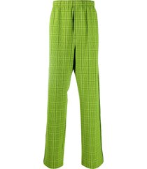 balenciaga checked loose straight-leg trousers - green
