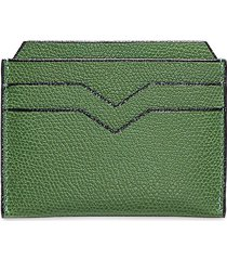 leather card holder - grass green