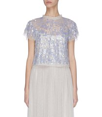 'tempest' sequin embroidered short sleeve sheer top