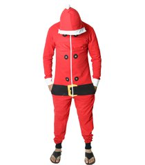 santa christmas jumpsuits - unisex men's ladies hooded santa jumpsuit costume