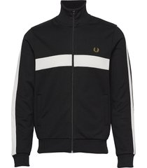 contrast panel track jkt sweat-shirt tröja svart fred perry