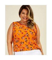 blusa plus size feminina estampa floral sem manga