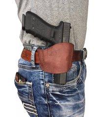glock 24 brown genuine leather owb belt slide gun holster