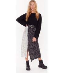 womens high-waisted maxi skirt with contrasting spotty print - black