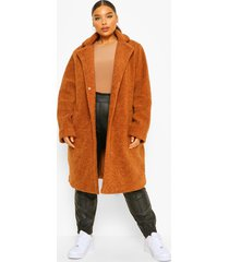 plus halflange faux fur teddy duster jas, ginger