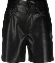 nanushka faux-leather shorts - black