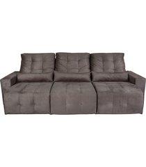 sofá retrátil reclinável 3 lugares bressiani helena, veludo marrom