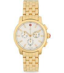 uptown goldtone diamond & stainless steel chronograph watch