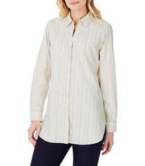 foxcroft vera modern mini stripe stretch cotton blend shirt, size 10 in almond tart at nordstrom