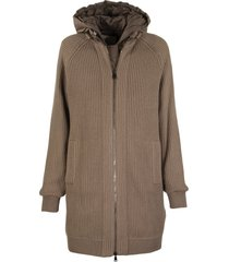 brunello cucinelli knit outerwear cashmere rib knit outerwear jacket with monili and detachable down vest
