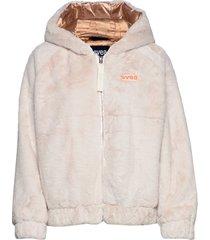 faux fur hood jacket outerwear faux fur crème svea