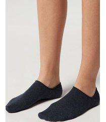 calzedonia unisex cotton no-show socks man blue size 44-45