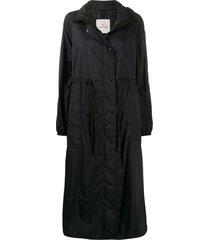 moncler drawstring waist hooded coat - black