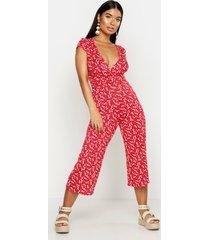 petite ditsy floral print wrap culotte jumpsuit, red