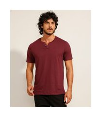 camiseta masculina básica manga curta gola portuguesa vinho