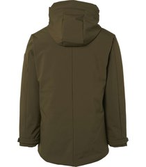 no excess jacket, long fit,hooded parka,soft dk army