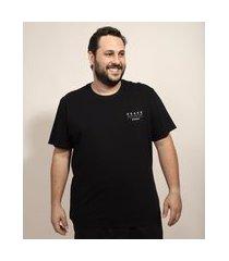 """camiseta masculina pipe plus size mãos meditation"""" manga curta gola careca preta"""""""