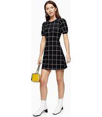 black and white check crinkle puff sleeve mini dress - monochrome