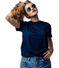 camiseta albedrío azul sin cuello