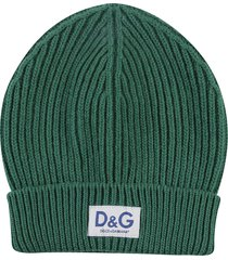dolce & gabbana logo patched knit beanie