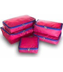 kit 5pçs organizador de malas rosa vb home