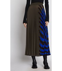 proenza schouler crepe pleated stripe skirt fatiguemulti/green 6