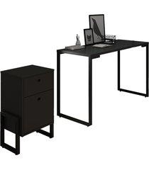 conjunto escritã³rio mesa escrivaninha 120cm e gaveteiro 2 gavetas estilo industrial new port f02 preto - mpozenato - preto - dafiti