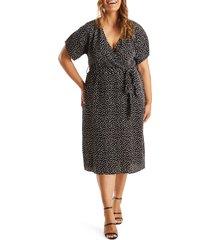 estelle sophie faux wrap midi dress, size 4x in black/cream at nordstrom