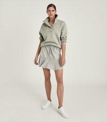 reiss farley - shawl collar loungewear sweatshirt in sage, womens, size l