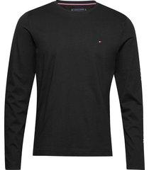 tommy logo long sleeve tee t-shirts long-sleeved svart tommy hilfiger
