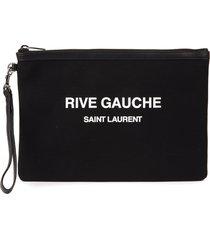 saint laurent black cotton pouch with logo print