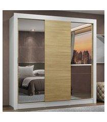 guarda-roupa casal madesa mônaco 3 portas de correr com espelhos - branco/carvalho marrom