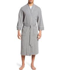 men's big & tall majestic international waffle knit robe, size 2xb - grey