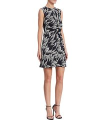 tuck-front printed shift dress