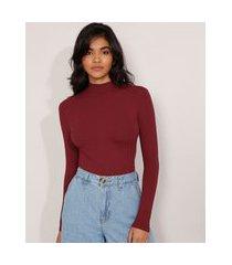 blusa canelada básica com botões manga longa gola alta vinho