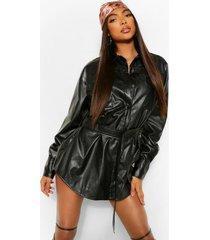 tall oversized pu blouse jas met ceintuur, black