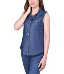 ny collection petite sleeveless denim button up top