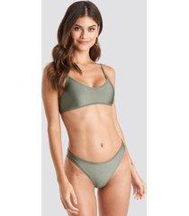 na-kd swimwear zig-zag seam bikini panty - green