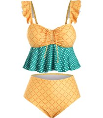 checked polka dot cinched front flounced plus size tankini swimwear