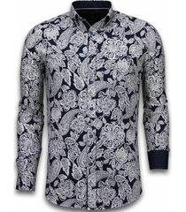 overhemd lange mouw tony backer blouse white on flower pattern