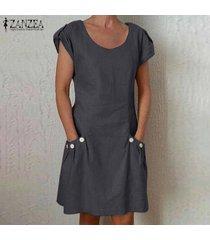 zanzea para mujer de manga corta del cuello de o floja ocasional camiseta de algodón vestido más del tamaño -gris oscuro