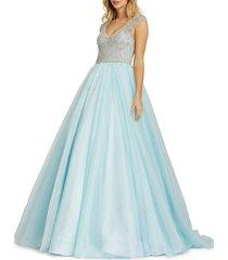 mac duggal women's deep v-neck ball gown - ice blue - size 4