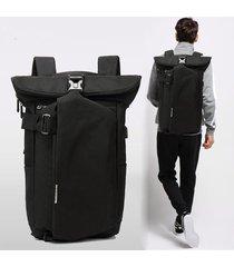 mochila para hombres mujeres oxford wearable transpirable antirrobo-negro