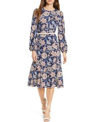 women's eliza j floral long sleeve pebble crepe dress, size 8 - blue
