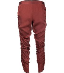 dolce & gabbana pre-owned 2000s cropped ruched trousers - red
