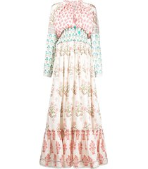 hemant and nandita all-over print maxi dress - white