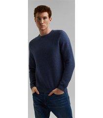 sweater hombre con textura liso azul oscuro esprit