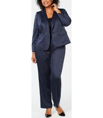 le suit plus size one-button glossy pantsuit