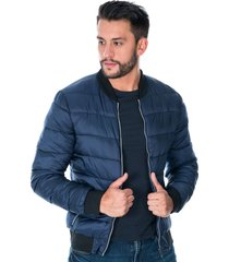 chaqueta para hombre azul tipo bomber acolchada con bolsillos laterales y cremalleras plateadas