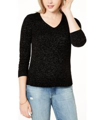 maison jules metallic v-neck sweater, created for macy's